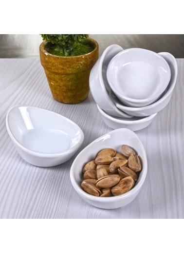 Keramika Beyaz Mini Gondol Çerezlik/Sosluk 8 Cm 6 Adet Beyaz